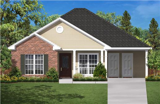 Ranch House Plans BB-1350 color rendering.