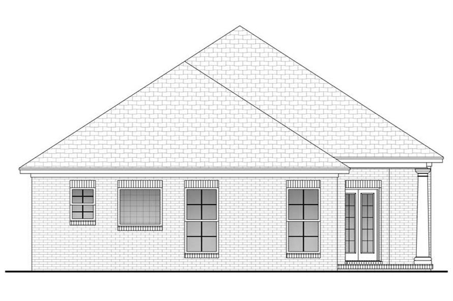 Home Plan Rear Elevation of this 3-Bedroom,1400 Sq Ft Plan -142-1015