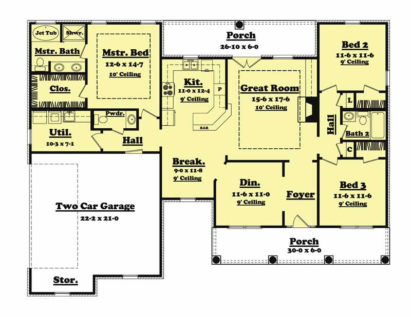 Traditional country ranch house plans home design for Cost to build 1500 sq ft cabin