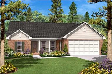 3-Bedroom, 1400 Sq Ft Country House Plan - 142-1017 - Front Exterior