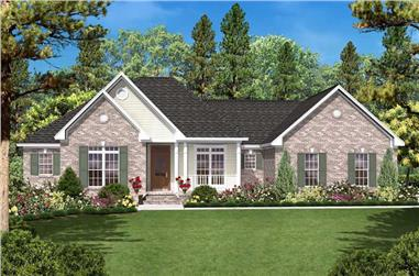 3-Bedroom, 1600 Sq Ft Country House Plan - 142-1021 - Front Exterior