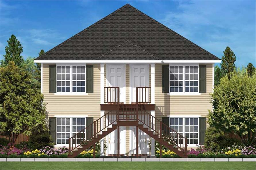 Multi unit house plans home design 2176 for 4 unit multi family house plans