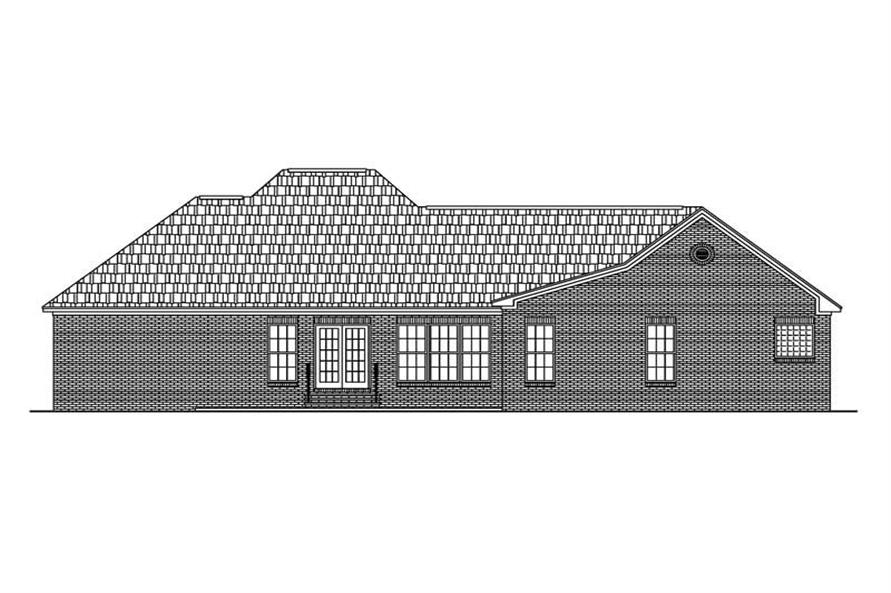 Home Plan Rear Elevation of this 3-Bedroom,1600 Sq Ft Plan -142-1024
