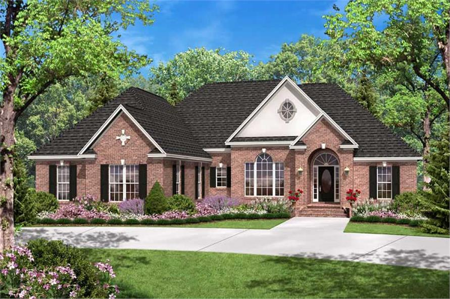 3-Bedroom, 2300 Sq Ft European House Plan - 142-1027 - Front Exterior