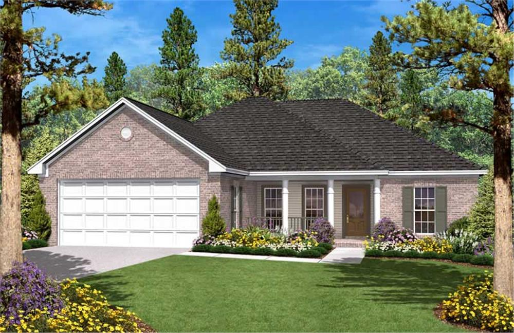 Front elevation of Country home (ThePlanCollection: House Plan #142-1028)
