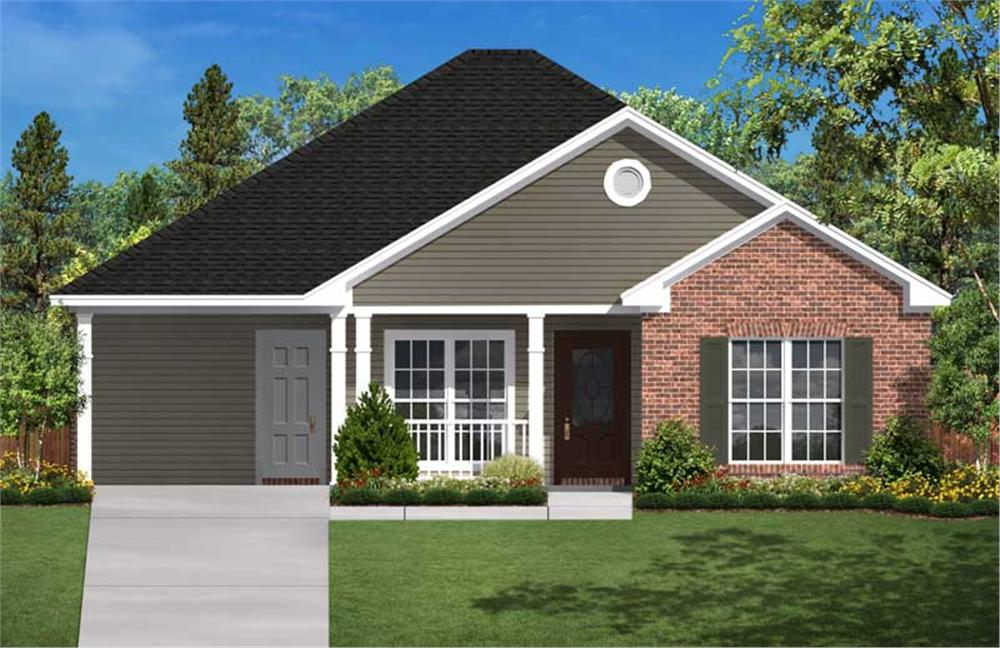 This is a colored rendering of these Traditional Small Home Plans