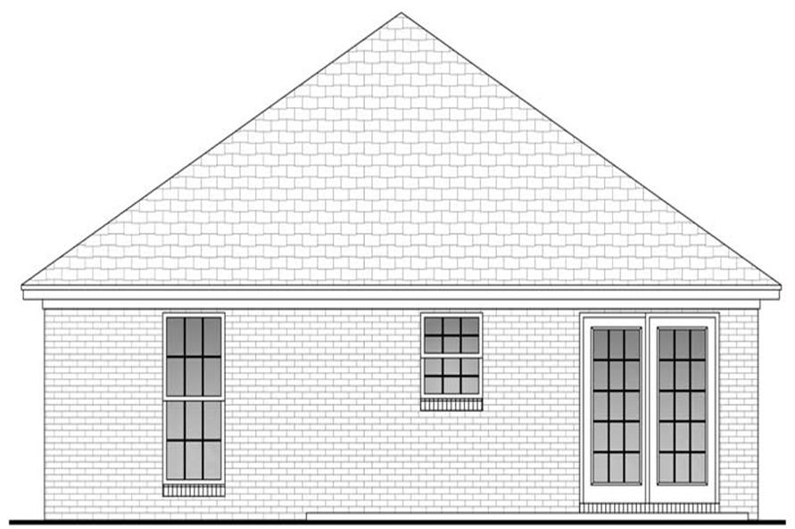 Home Plan Rear Elevation of this 2-Bedroom,850 Sq Ft Plan -142-1031