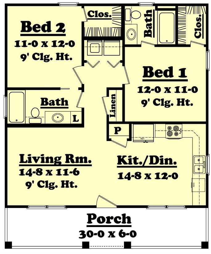 Small Country Home Plan   Two Bedrooms   Plan         Floor Plan First Story