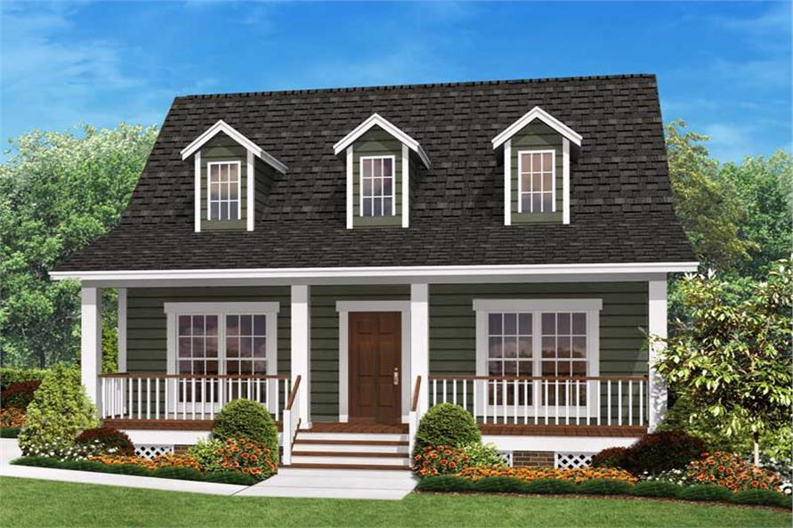 Small Country Home Plan – Two Bedrooms | Plan #142-1032 on french house plans with dormers, small house plans with dormers, country home plans with dormers,