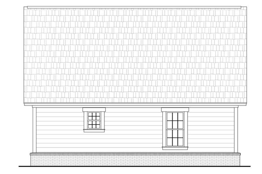 Home Plan Rear Elevation of this 2-Bedroom,900 Sq Ft Plan -142-1032