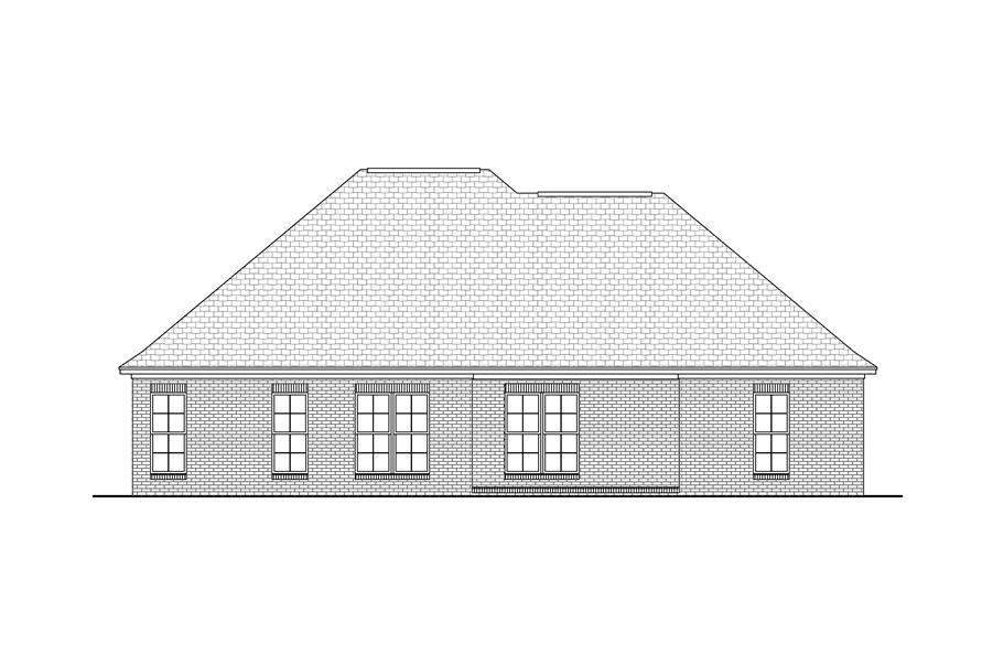 Home Plan Rear Elevation of this 3-Bedroom,1700 Sq Ft Plan -142-1033
