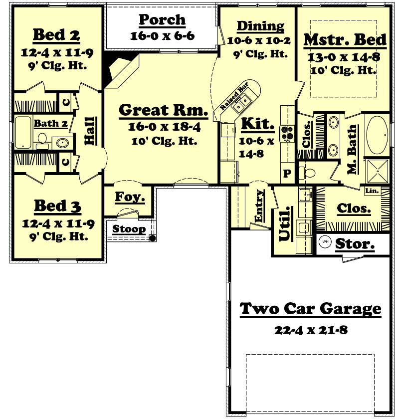 Traditional houseplans home design 1600 10 for 1600 sq ft house plans one story