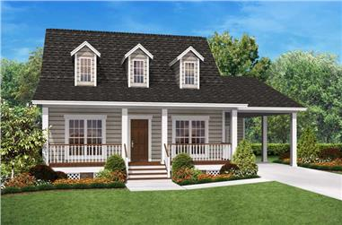 Front elevation of tiny Cape Cod home (ThePlanCollection: House Plan #142-1036)