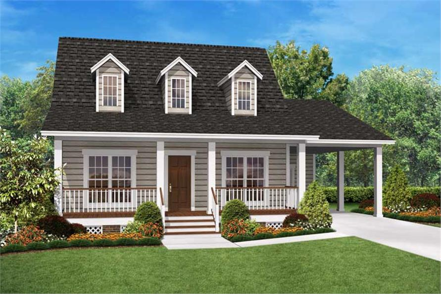 2 bedrm 900 sq ft cape cod house plan 142 1036 for 2 bedroom house plans with attached garage