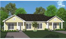 This is a computer rendering of these Ranch Duplex House Plans.