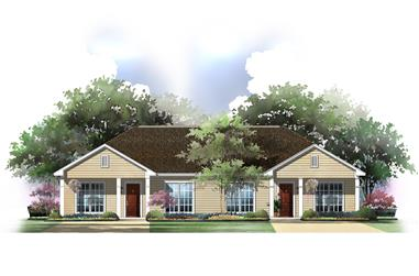 Computer rendering of Ranch-style Duplex House Plan #142-1037.