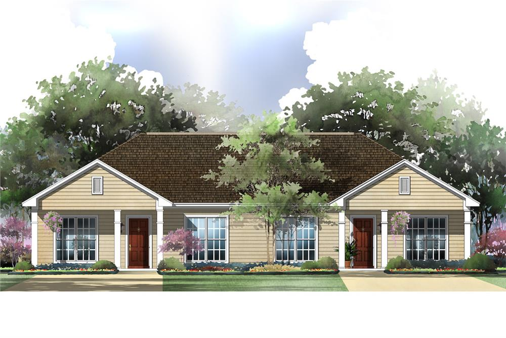 Front elevation of Multi-Unit home (ThePlanCollection: House Plan #142-1037)