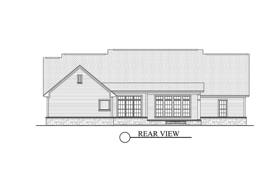 142-1040: Home Plan Rear Elevation