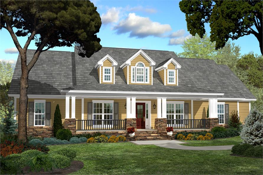 Front elevation of Country home (ThePlanCollection: House Plan #142-1040)