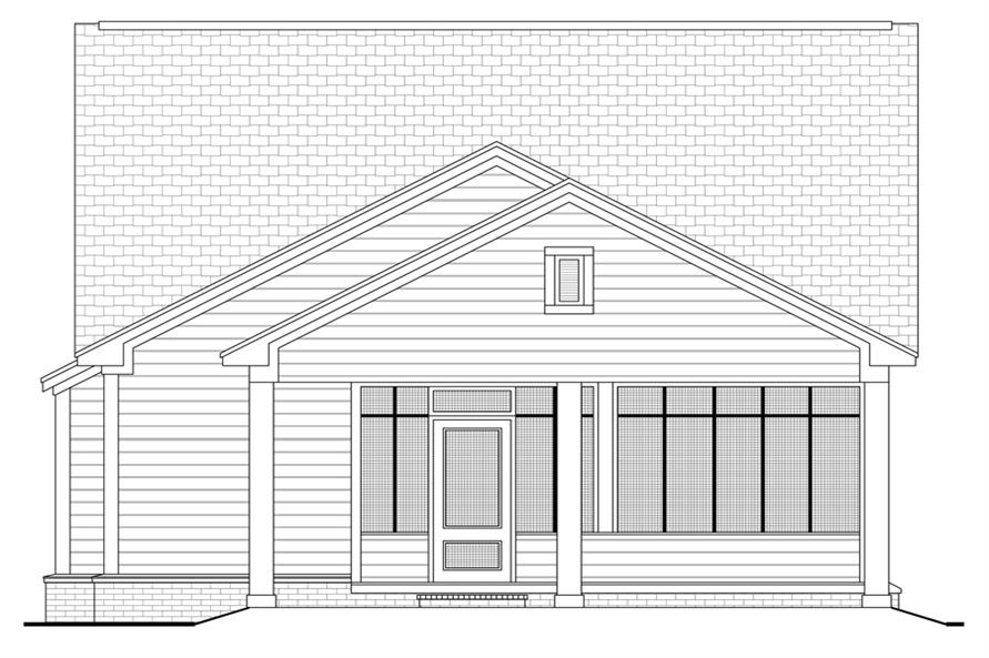 Home Plan Rear Elevation of this 3-Bedroom,1300 Sq Ft Plan -142-1041
