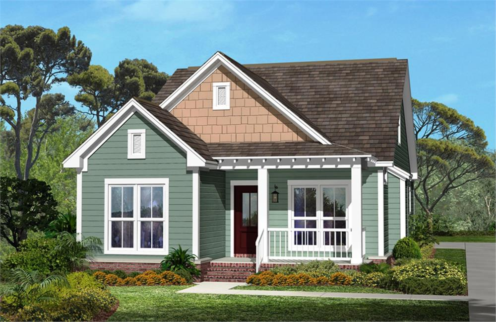 Front elevation of Craftsman home (ThePlanCollection: House Plan #142-1041)