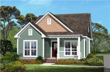 3-Bedroom, 1300 Sq Ft Craftsman House Plan - 142-1041 - Front Exterior