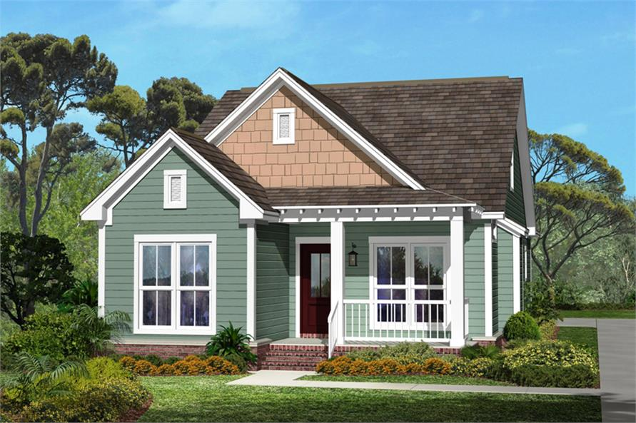 Narrow craftsman home plan 3 bedrooms 2 baths plan for Two story craftsman homes