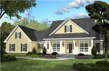 3-Bedroom, 2100 Sq Ft Country Home Plan - 142-1042 - Main Exterior