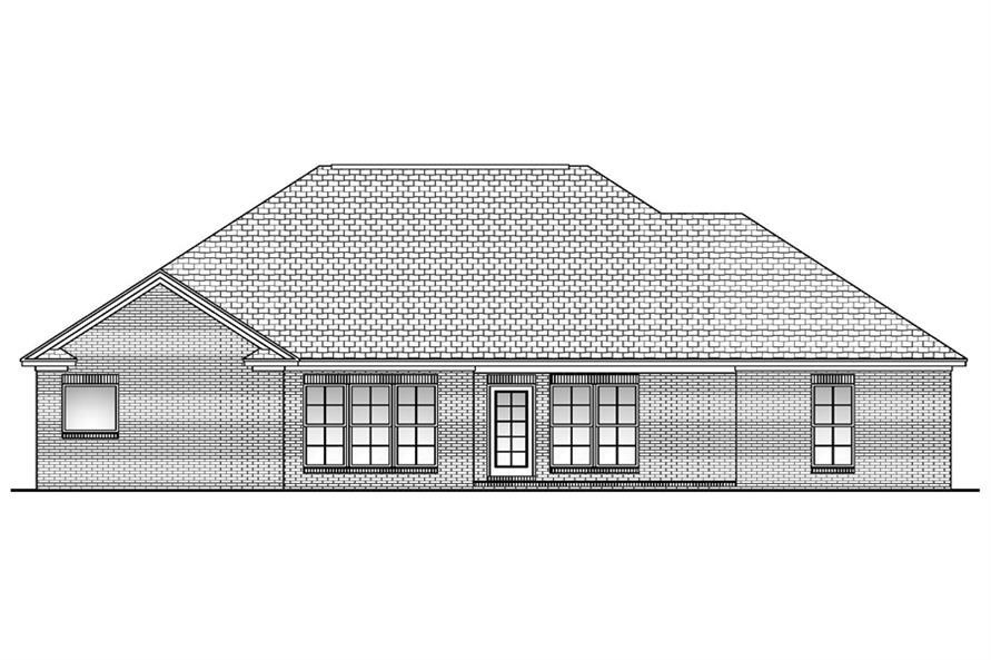 Home Plan Rear Elevation of this 3-Bedroom,1800 Sq Ft Plan -142-1043