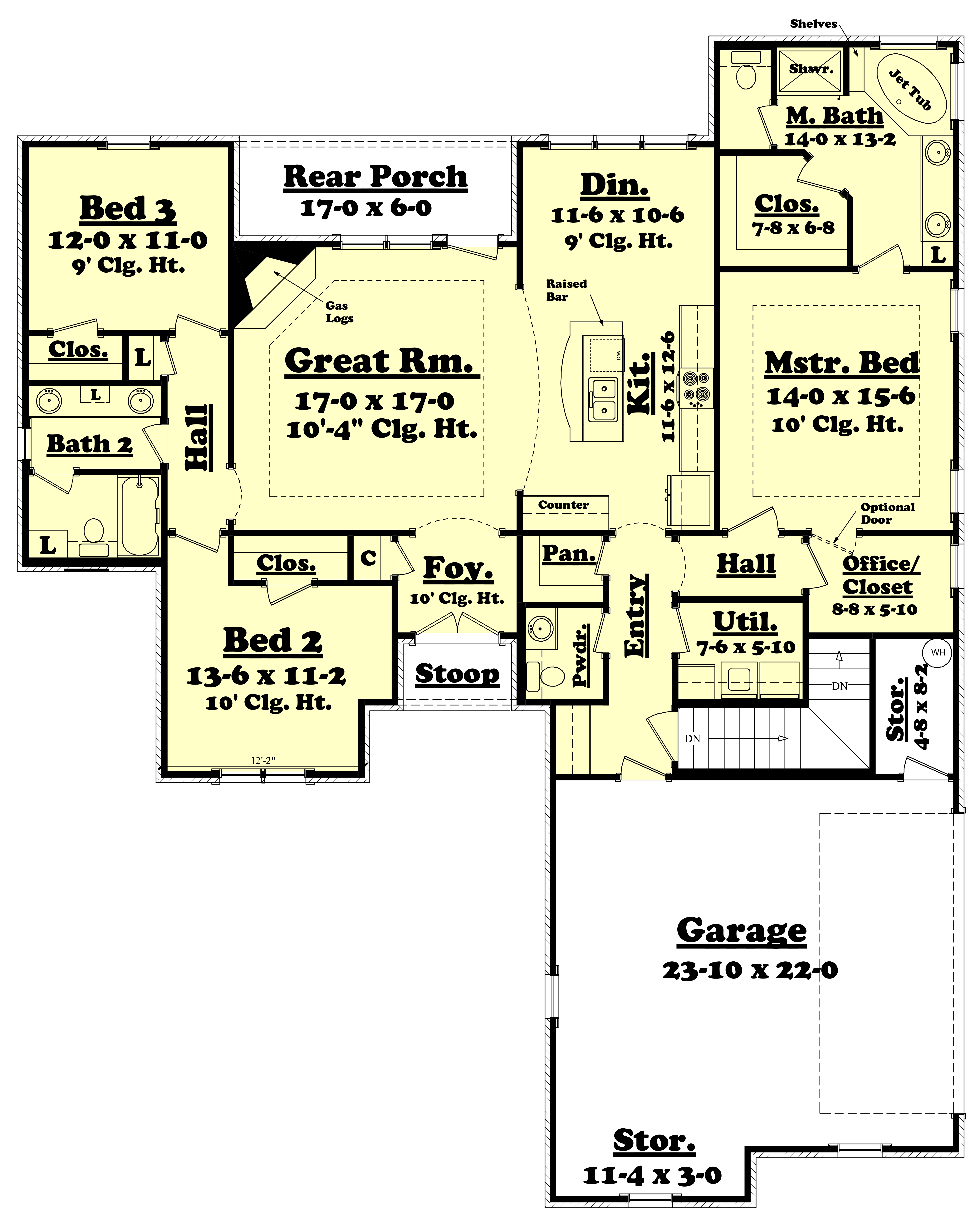 Southern Country Home Plan 3 Bedrooms 2 1 2 Baths
