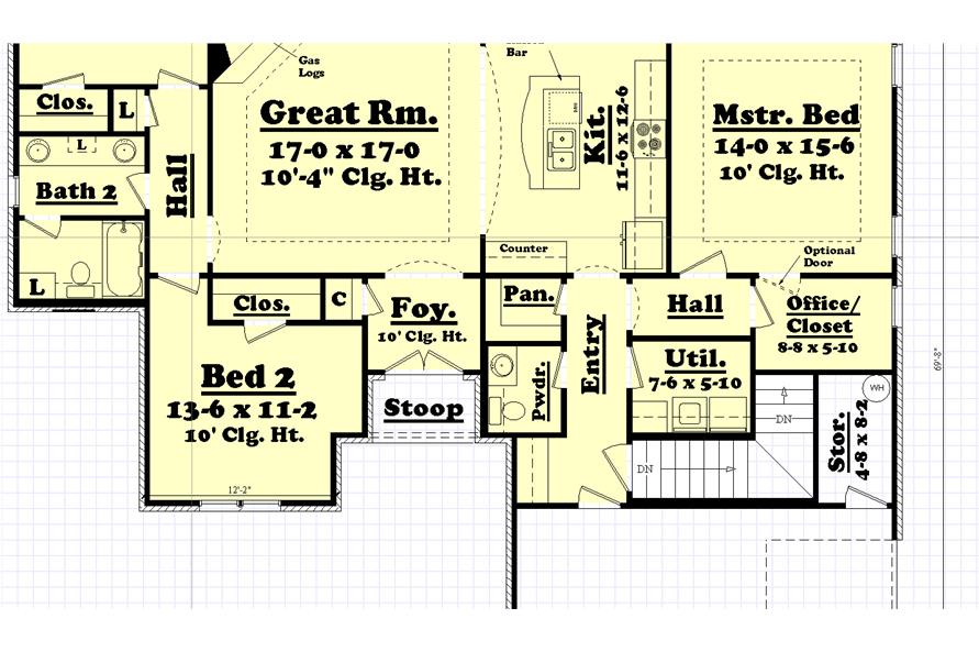 142-1043: Alternate Floor Plan Showing Layout of Stairs to Optional Basement