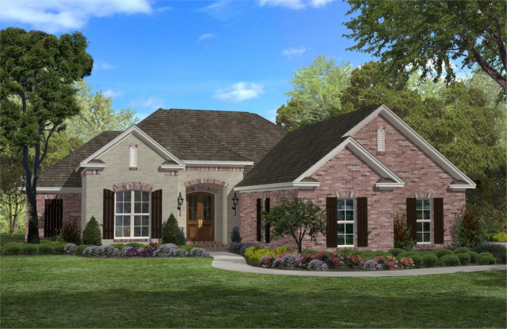 Front rendering of Southern house plan 142-1043