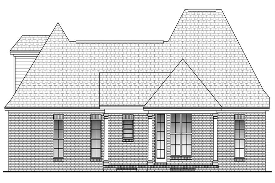 Home Plan Rear Elevation of this 3-Bedroom,1750 Sq Ft Plan -142-1044