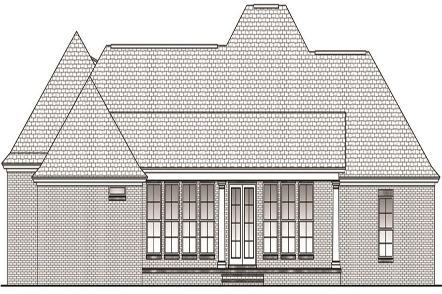 Home Plan Rear Elevation of this 4-Bedroom,2750 Sq Ft Plan -142-1045