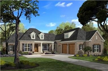 Full color rendering of House Plan #142-1045
