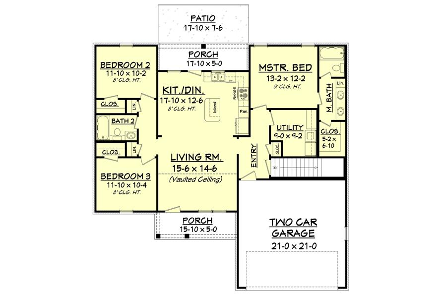 Southern Ranch Home 3 Bedrooms 1300 Sq Ft House Plan 142 1046