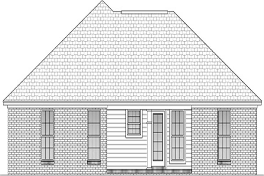 Home Plan Rear Elevation of this 3-Bedroom,1300 Sq Ft Plan -142-1046