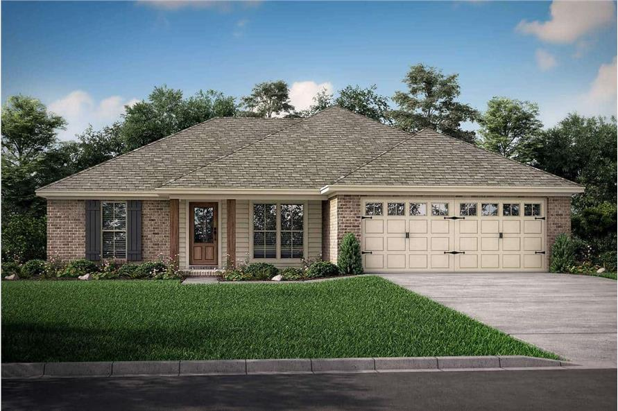 3-Bedroom, 1300 Sq Ft Southern Ranch Plan - 142-1046 - Front Exterior