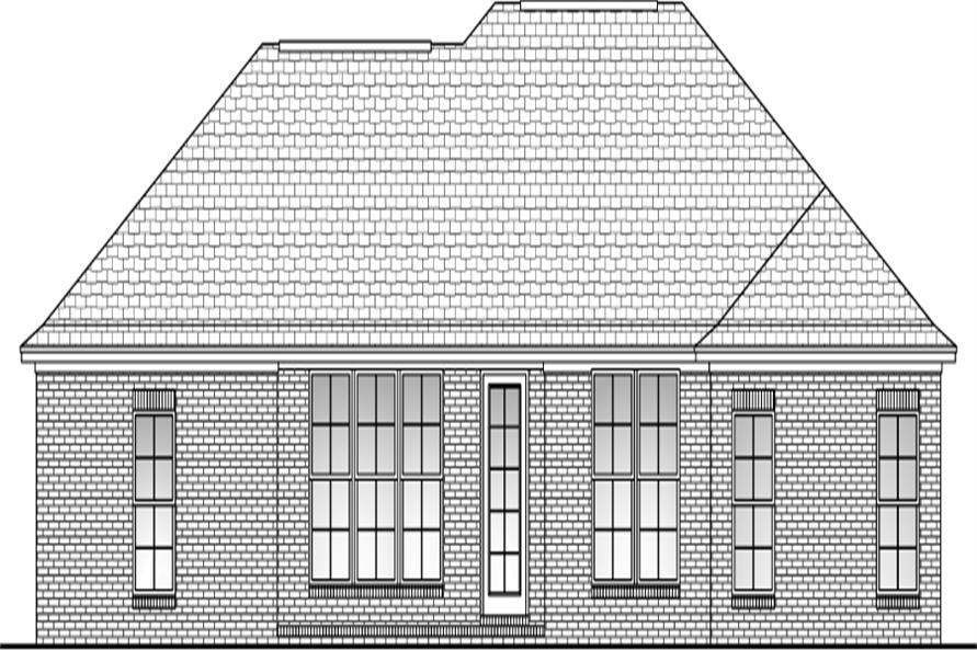 Home Plan Rear Elevation of this 3-Bedroom,1500 Sq Ft Plan -142-1047