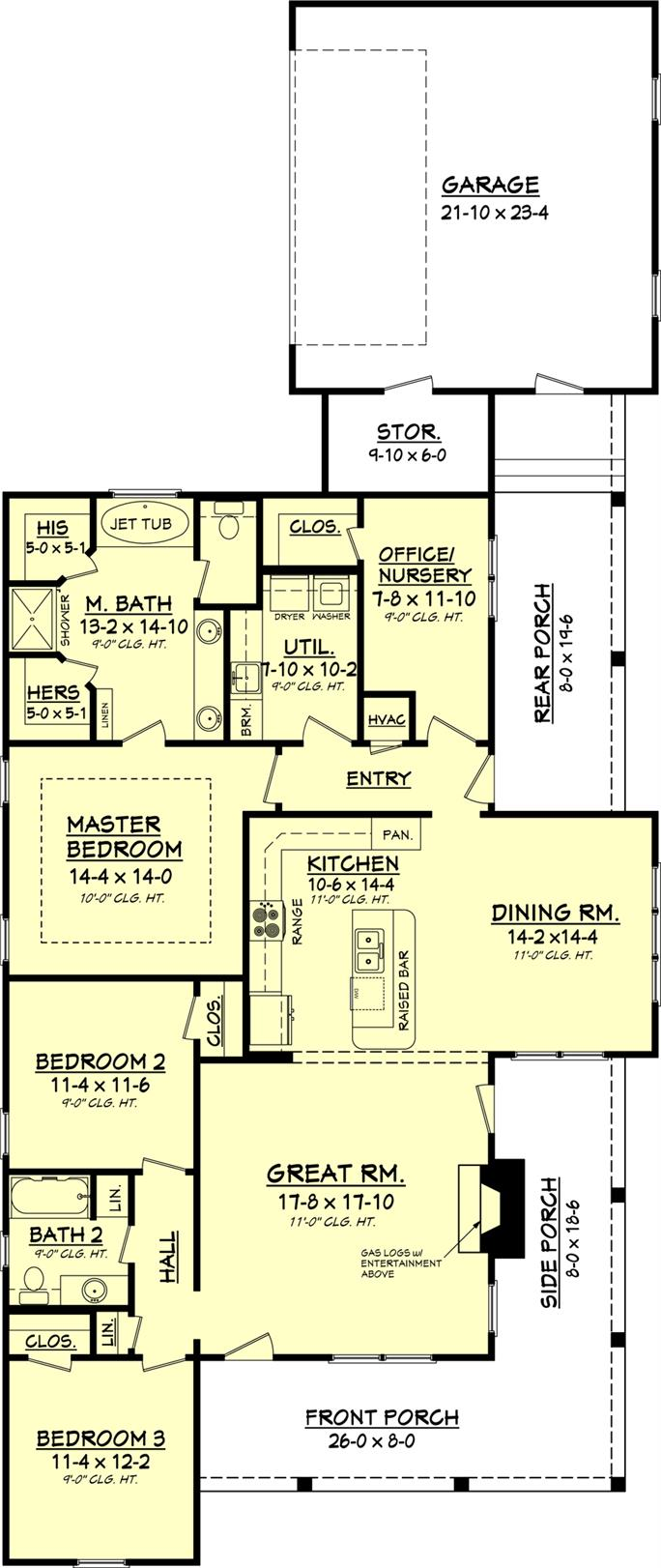 house plan 142 1048 3 bedroom 1900 sq ft ranch country home floor plan first story 142 1048 main level
