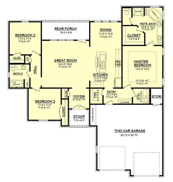 House Plan #142-1049 : 3 Bedroom, 1600 Sq Ft Country - Southern Home ...