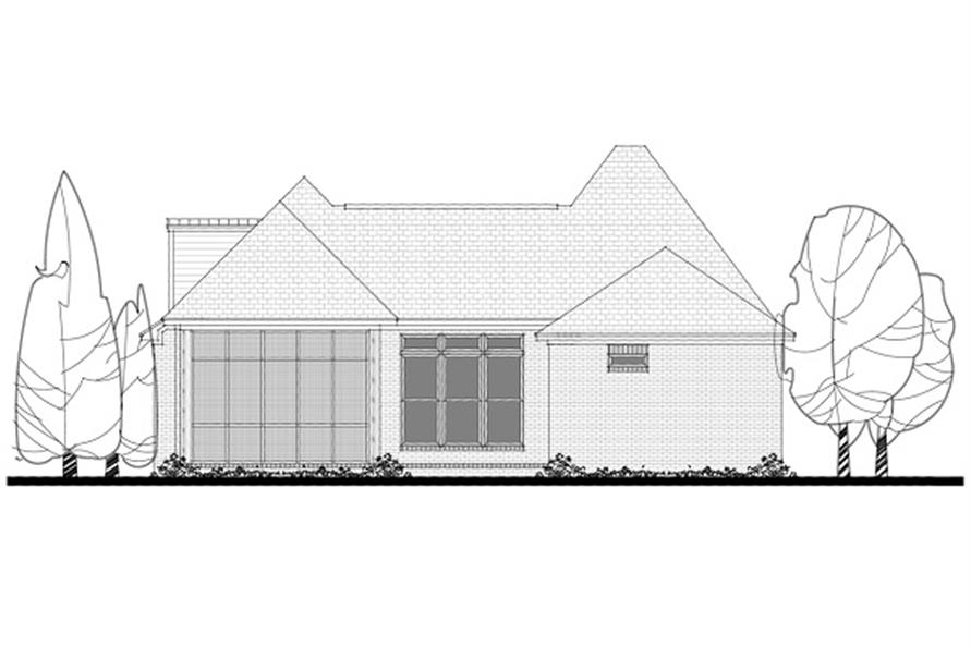 142-1050: Home Plan Rear Elevation
