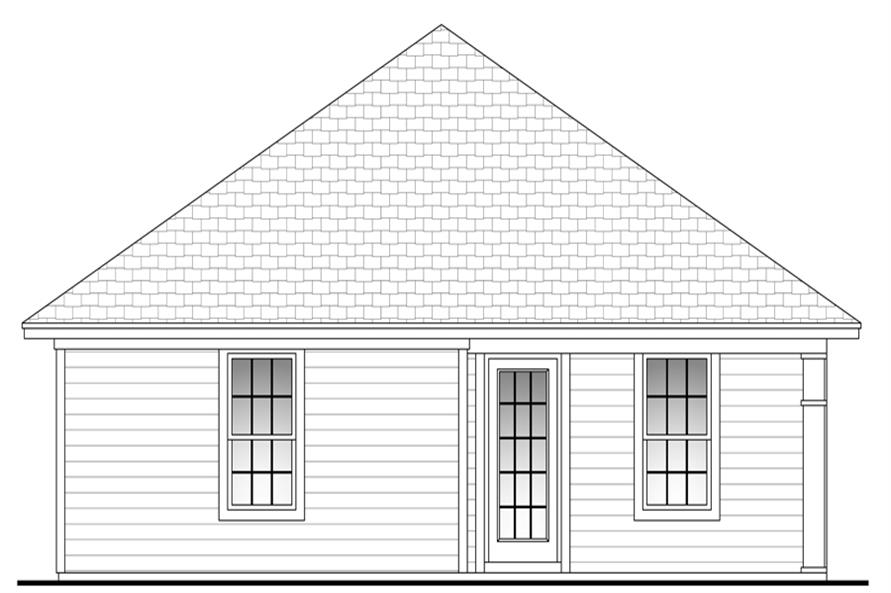 Home Plan Rear Elevation of this 3-Bedroom,1200 Sq Ft Plan -142-1052