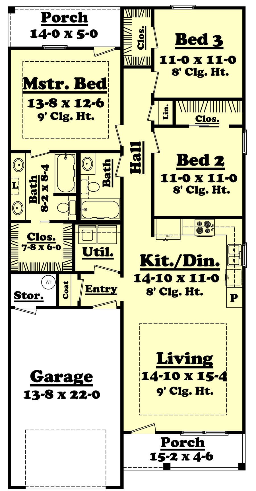 House Plan 142 1053 3 Bdrm 1 250 Sq Ft Traditional Home
