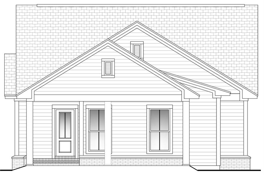 Home Plan Rear Elevation of this 3-Bedroom,1375 Sq Ft Plan -142-1054