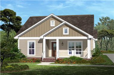 Front Elevation Photo of this Cottage-Style House (#142-1054) at The Plan Collection.