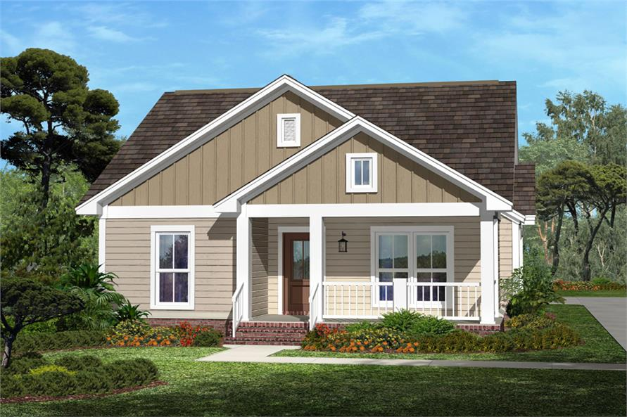 3-Bedroom, 1375 Sq Ft Cottage Home Plan - 142-1054 - Main Exterior