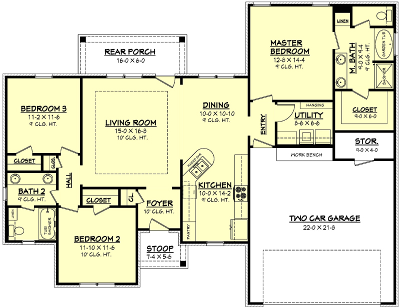 House Plan 142 1056 3 Bdrm 1 500 Sq Ft Acadian Home