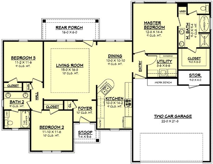 House Plan #142-1056: 3 Bdrm, 1,500 Sq Ft Acadian Home | ThePlanCollection