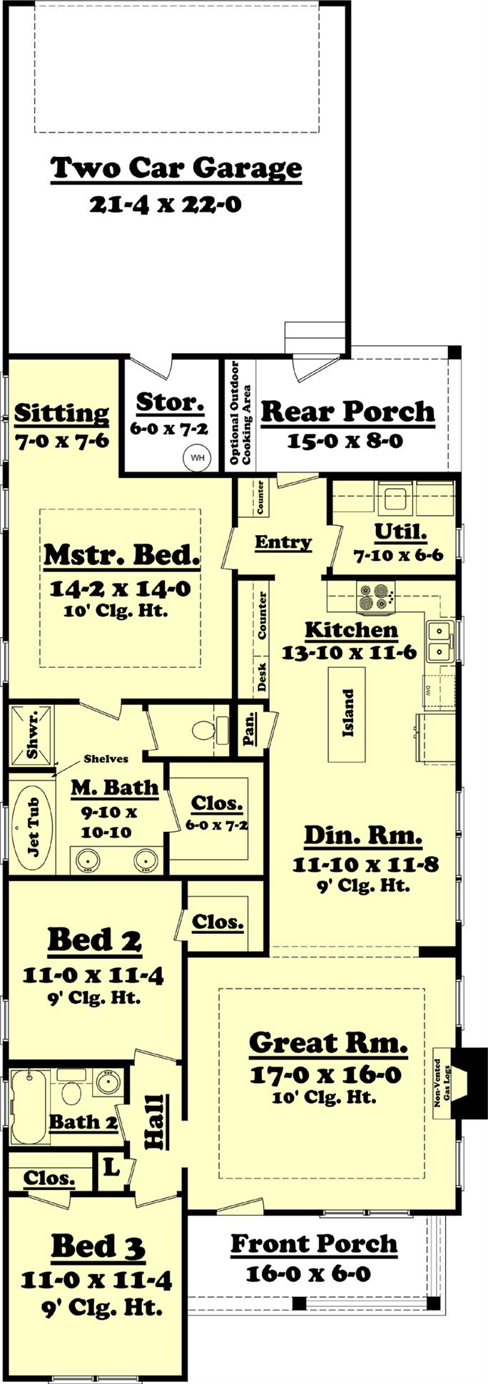 house plan 142 1060 3 bdrm 1 550 sq ft cottage home 142 1060 floor plan main level